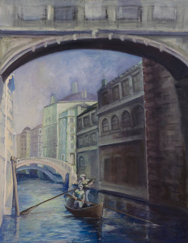 Venice Art Print featuring the painting Gondoliers by Victoria Shea