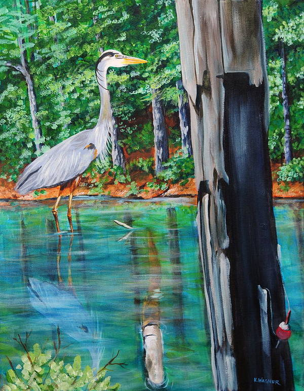 Heron Art Print featuring the painting Gone Fishin by Karl Wagner