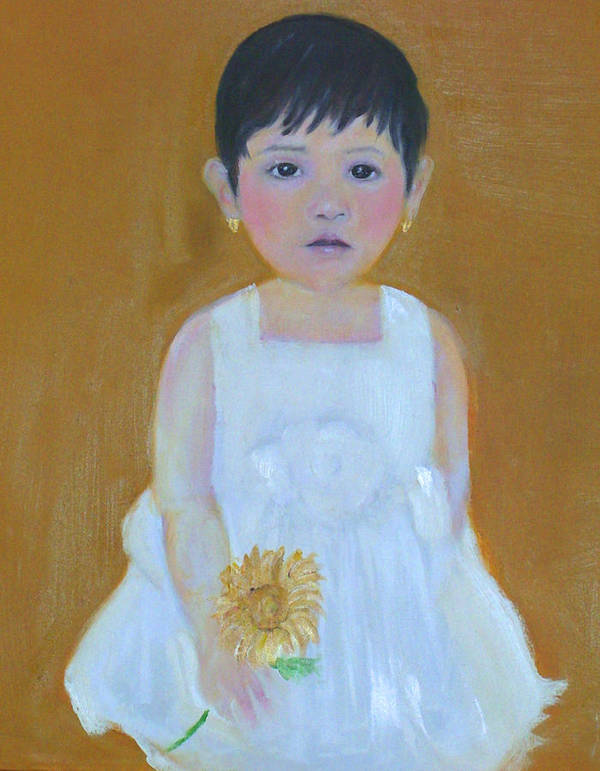 Child Art Print featuring the painting La Senorita And The Sunflower by Michela Akers