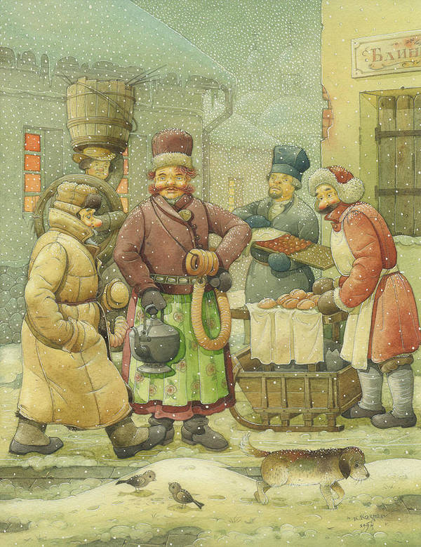 Russian Winter Art Print featuring the painting Russian Scene 04 by Kestutis Kasparavicius