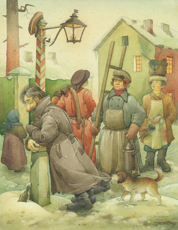 Russian Winter Art Print featuring the painting Russian Scene 06 by Kestutis Kasparavicius