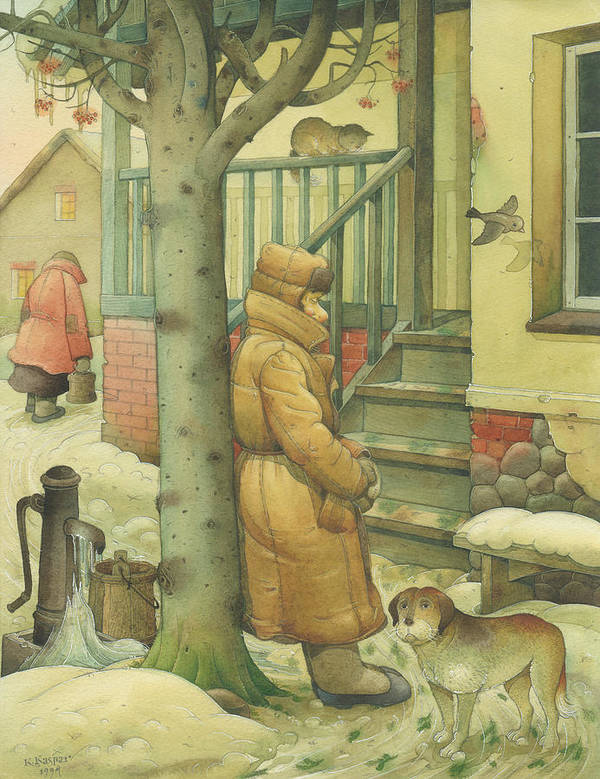 Russian Winter Art Print featuring the painting Russian Scene 10 by Kestutis Kasparavicius