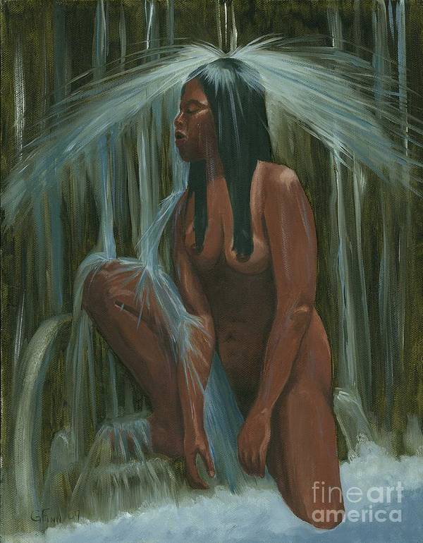 Western Art Print featuring the painting Sacagawea In The Water Cave by Gail Finn