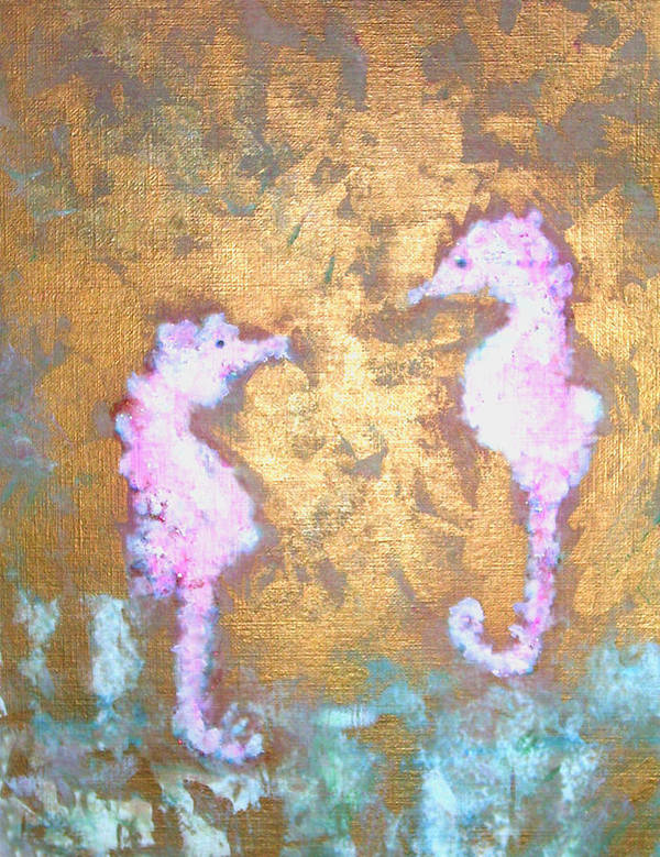 Seahorses Art Print featuring the painting Seahorses by Michela Akers