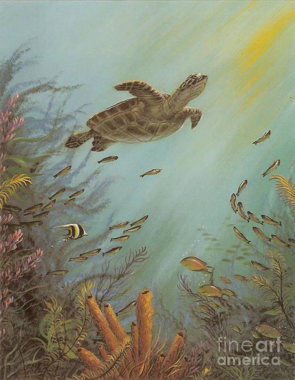 Sea Turtle Art Print featuring the painting Seeking Solitude by Susan Elizabeth Wolding
