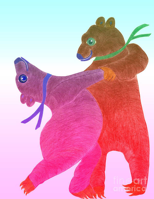 Bears Art Print featuring the painting Tango Bears by Tess M J Iroldi