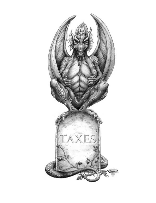 Dragon Art Print featuring the drawing Taxes by Greg Piszko