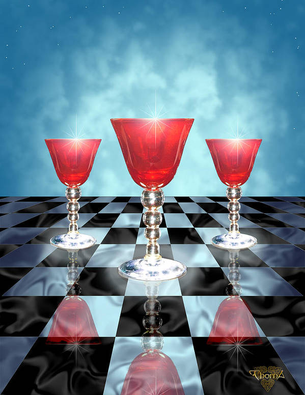 Digital Art Art Print featuring the digital art Three Of Cups by Greg Piszko