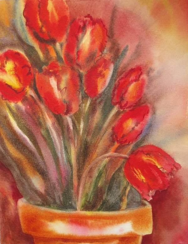 Tulips Art Print featuring the painting Tulips For David by Tara Moorman