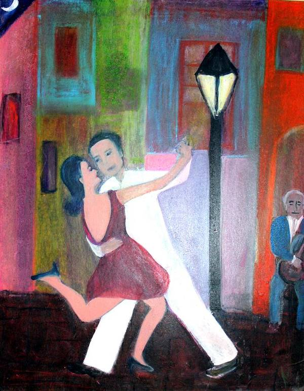 Urban Landscape Art Print featuring the painting Veux Tu Tango by Michela Akers