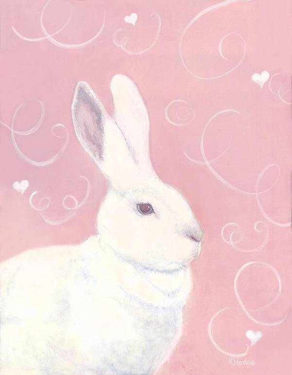 Rabbit Art Print featuring the painting Victoria Valentine by Kimberly Hodge