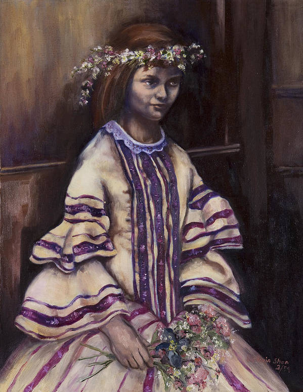 Portrait Art Print featuring the painting Victorian Girl by Victoria Shea