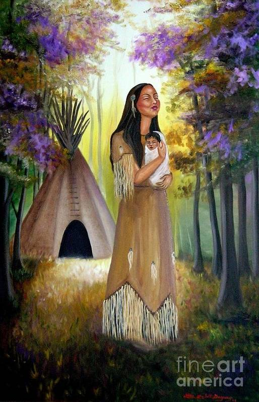 Native American Art Print featuring the painting Native American Mother And Child by Lora Duguay
