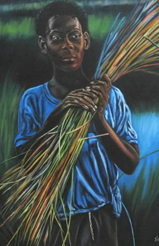 Portrait Art Print featuring the painting Justine by Shahid Muqaddim