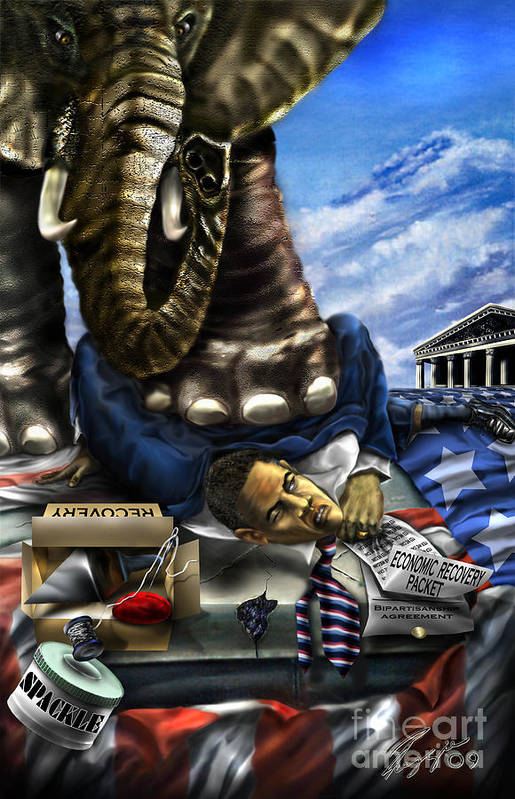 Political Satire Painting Art Print featuring the painting Obama by Reggie Duffie
