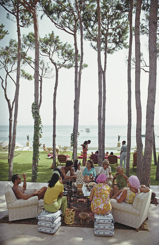 People Art Print featuring the photograph Marbella House Party by Slim Aarons