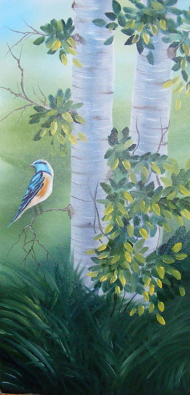 Birds Art Print featuring the painting Blue Bird In A Birch by Tina Brown