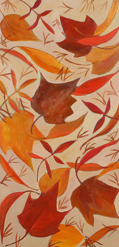 Autumn Leaves Art Print featuring the painting Swirling Leaves by Susan Rinehart