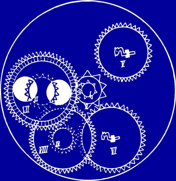 Clock Gears Blueprint Art Print featuring the drawing Clock Gears Blueprint by