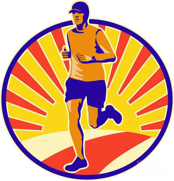 Marathon Art Print featuring the digital art Marathon Runner Athlete Running by Aloysius Patrimonio