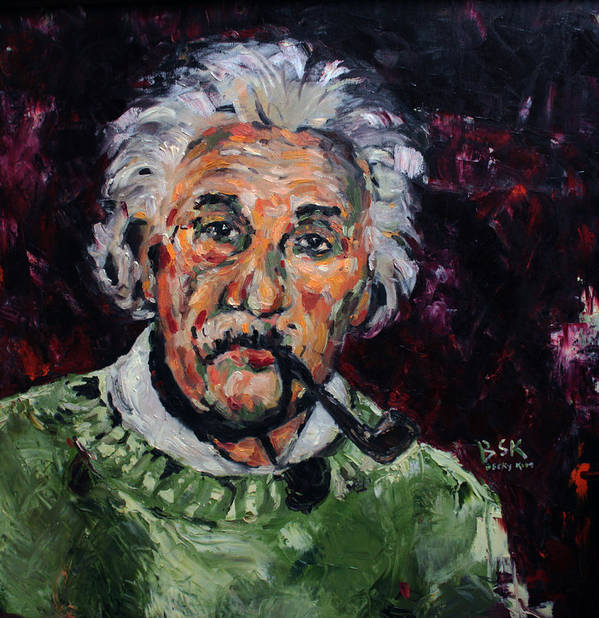 Oil Art Print featuring the painting Albert Einstein by Becky Kim