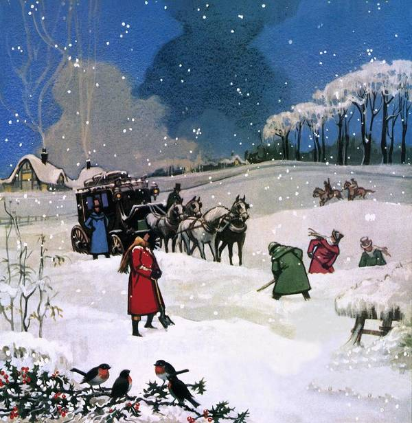 Christmas Scene Art Print featuring the painting Christmas Scene by English School