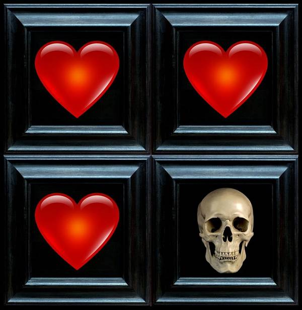 Heart Art Print featuring the digital art Love And Death II by Lee Kendall