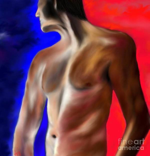 Nude Art Print featuring the painting Mystery Of A Man by Lori Lovetere