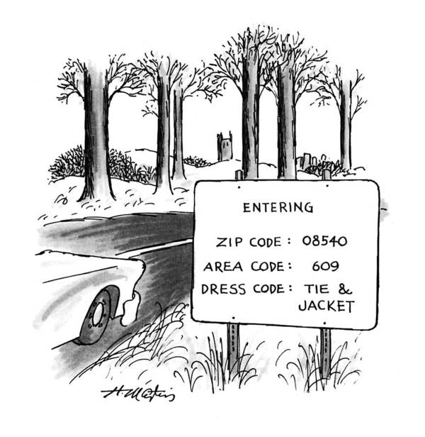 (sign By The Side Of The Road That Reads Art Print featuring the drawing New Yorker February 1st, 1993 by Henry Martin