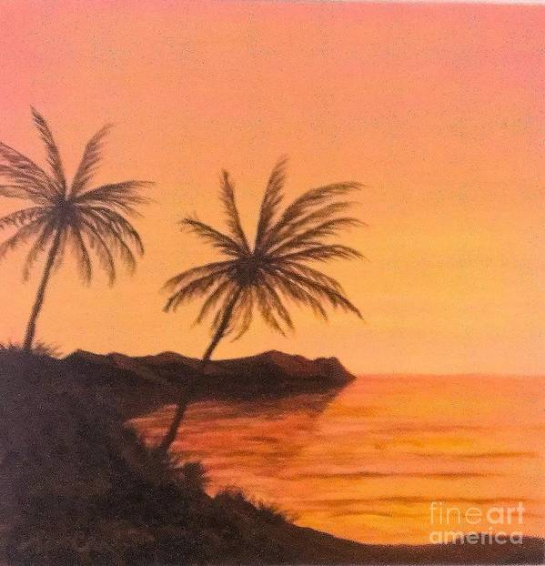 Palm Scene Art Print featuring the painting Ocean Palms by Ron Chabot