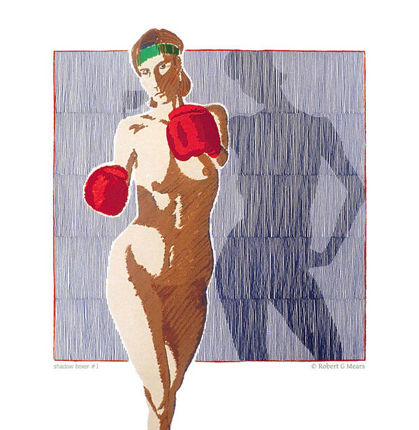 Shadow Boxer Art Print featuring the painting Shadow Boxer - 1 by Robert G Mears