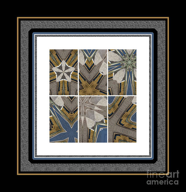 Tied To My Concrete Garden - Kaleidoscope - Hexaptych Art Print featuring the photograph Tied To My Concrete Garden - Kaleidoscope - Hexaptych by Barbara Griffin