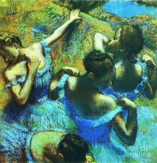 Reproduction Art Print featuring the painting Blue Dancers by Pg Reproductions