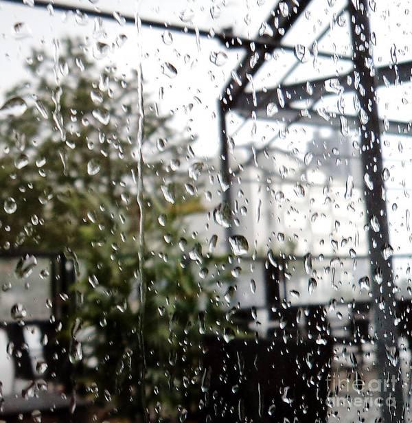 Rain Art Print featuring the painting Drops by Daniela Hallgren