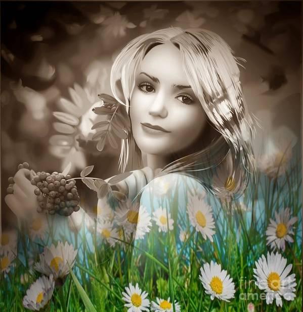 Nature Art Print featuring the digital art Flower Arround Me by Lalita Singh