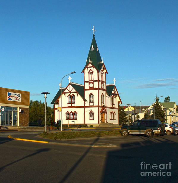 Husavik Art Print featuring the photograph Husavik Iceland Church by Gregory Dyer