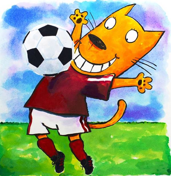 Cat Art Print featuring the painting Soccer Cat 3 by Scott Nelson