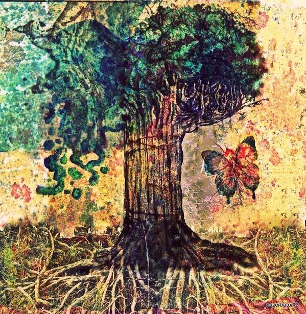 Tree Art Print featuring the digital art Symbolically Solid Tree by Paulo Zerbato
