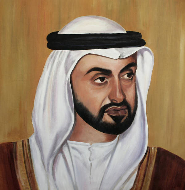 Abu Dhabi Art Print featuring the painting Abu Dhabi Crown Prince by Fiona Jack