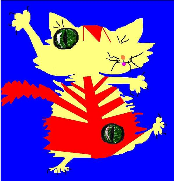 Cat Red Blue Yellow Distorted Art Print featuring the digital art Cataclysmic by Bethwyn Mills