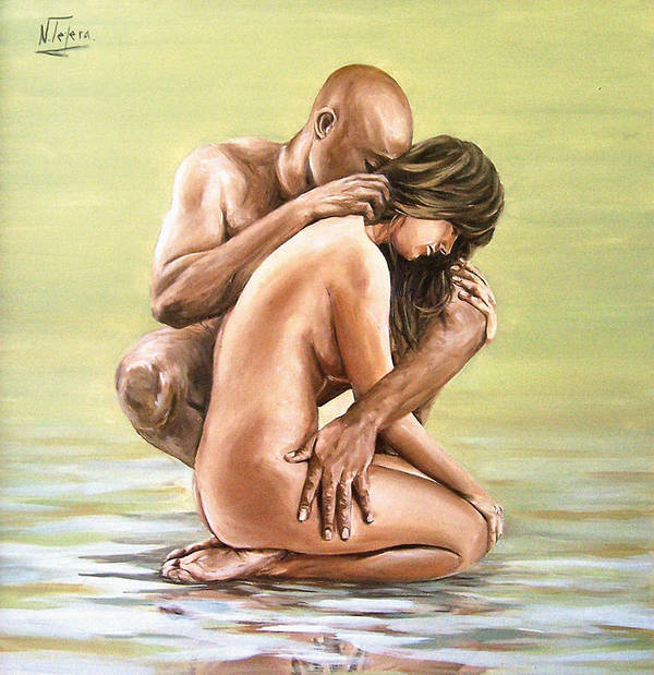 Nude Art Print featuring the painting Couple by Natalia Tejera