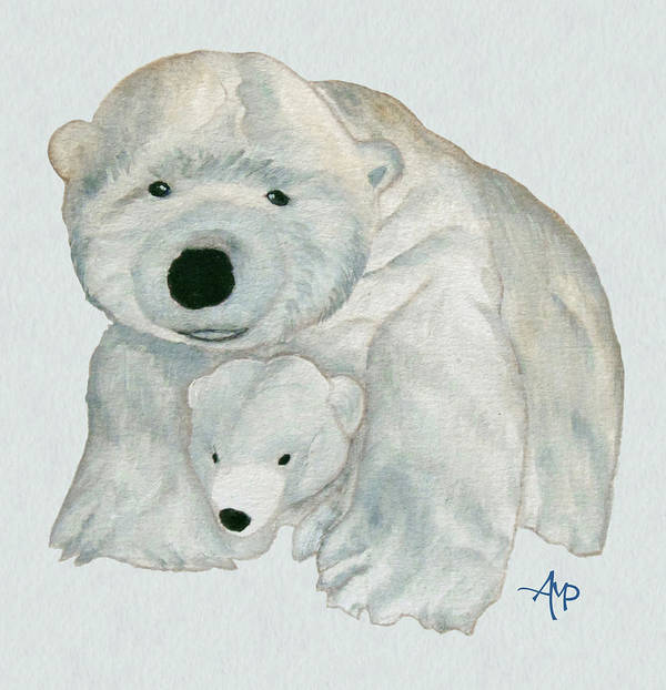 Polar Bear Art Print featuring the painting Cuddly Polar Bear Watercolor by Angeles M Pomata