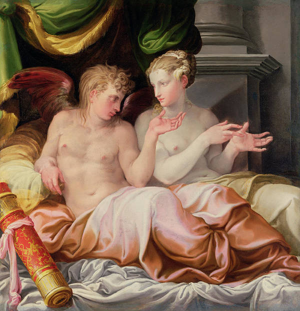 Eros And Psyche Art Print featuring the painting Eros And Psyche by Niccolo dell Abate