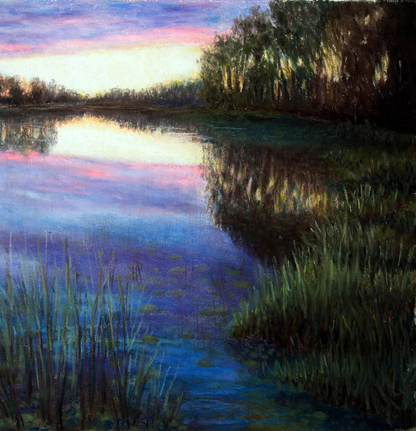 Landscape Art Print featuring the painting Evening Reflection by Susan Jenkins