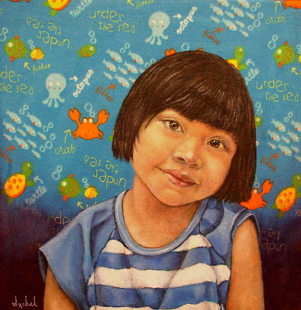 Girl Art Print featuring the painting Flor by Ixchel Amor