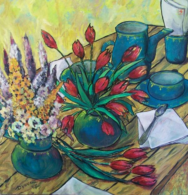 Painting Flowers Art Print featuring the painting Garden Flowers by Vladimir Domnicev