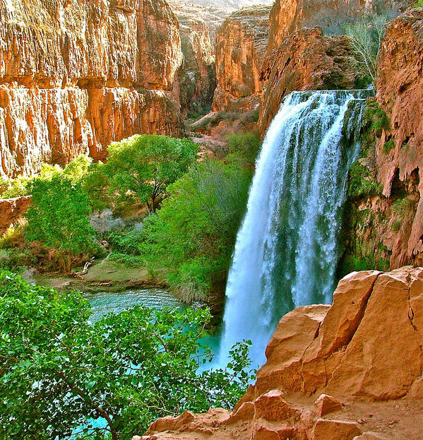 Waterfall Art Print featuring the photograph Havasu Falls Canyon by Brent Sisson
