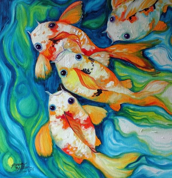 Fish Art Print featuring the painting Koi Inny Minny Miney Moe by Marcia Baldwin