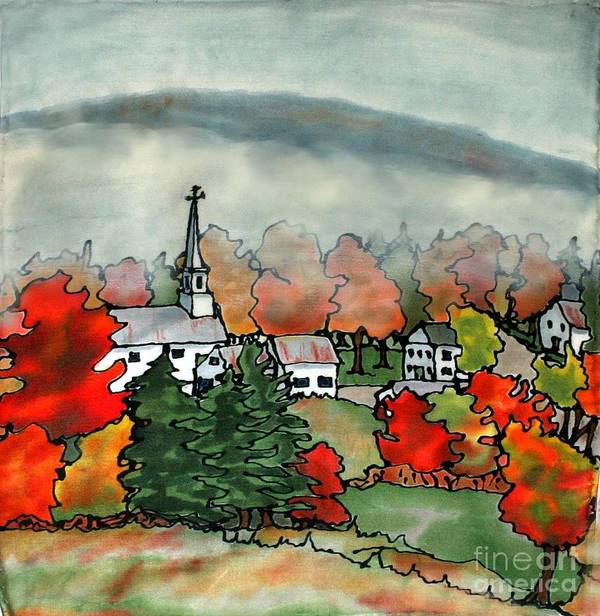 Village Art Print featuring the painting Lifting Fog Silk Painting by Linda Marcille