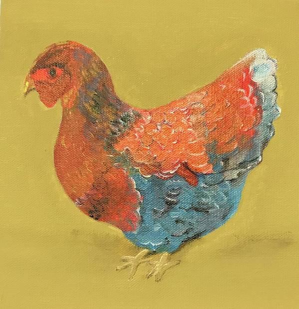 Chicken Art Print featuring the painting Olivia by Lorraine Adams